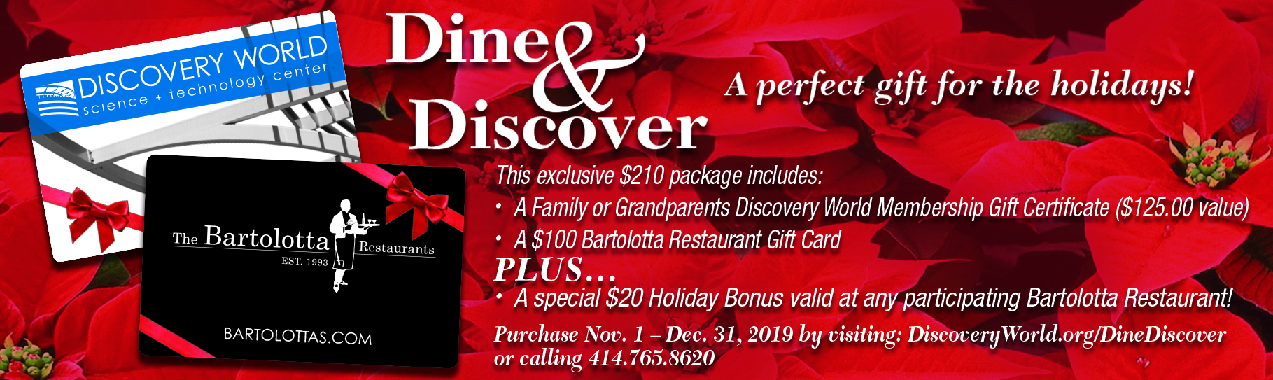 Dine & Discover with Discovery World and The Bartolotta Restaurants